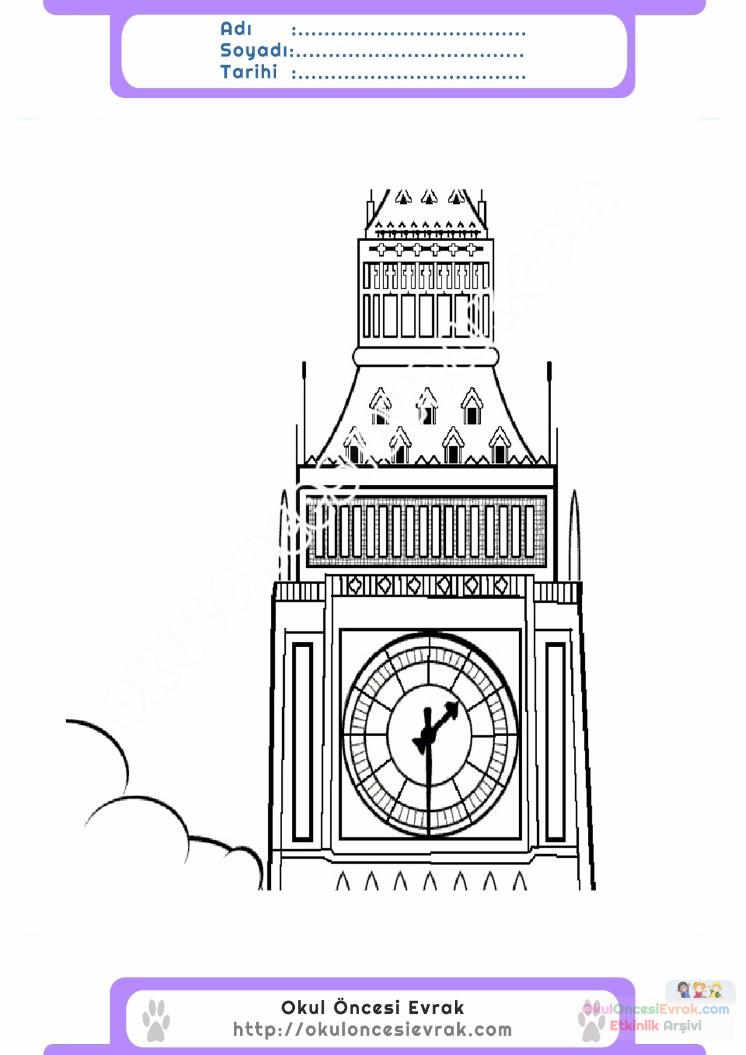 çocuklar Için Saat Kulesi Yapılar Binalar Boyama Sayfası 5