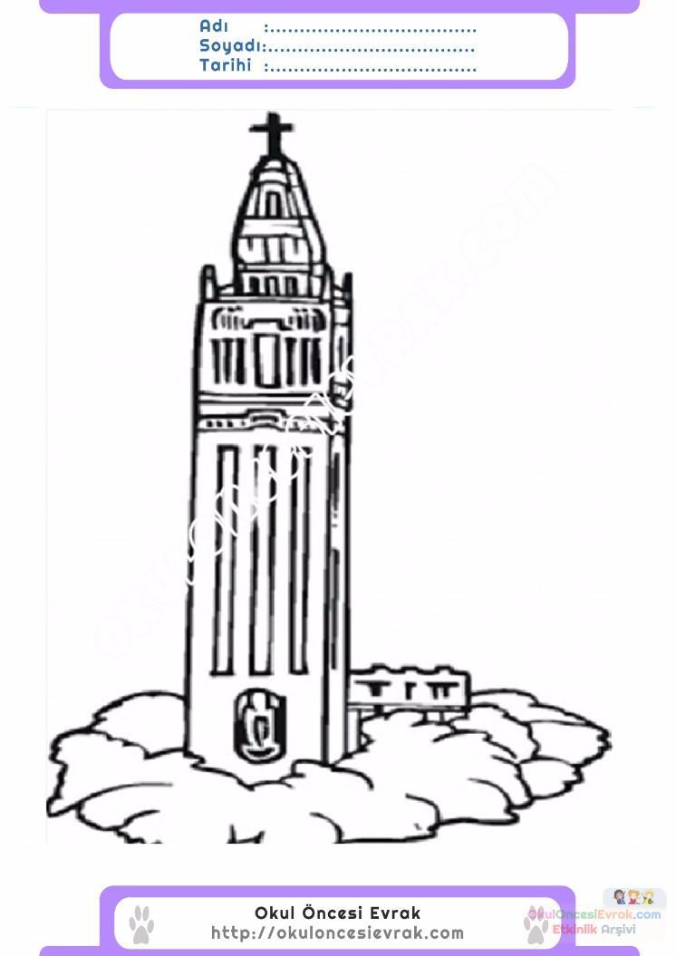 çocuklar Için Saat Kulesi Yapılar Binalar Boyama Sayfası 6