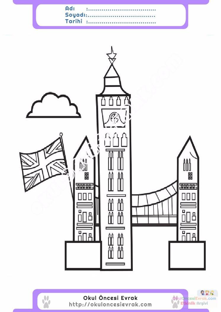 çocuklar Için Saat Kulesi Yapılar Binalar Boyama Sayfası 8