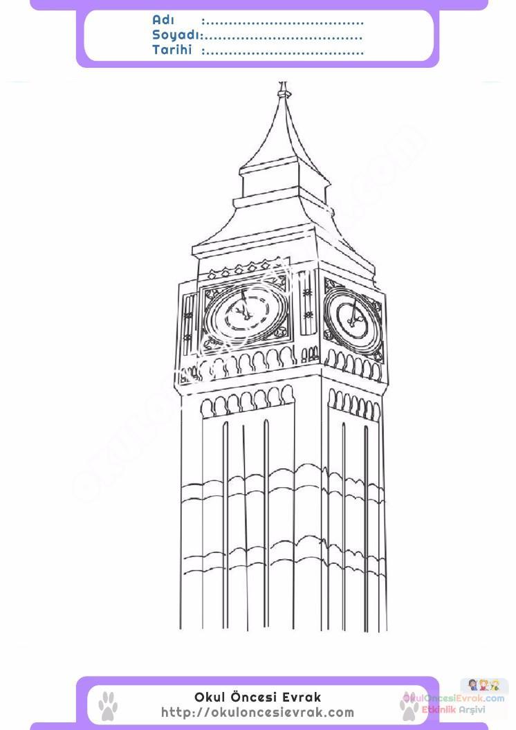 çocuklar Için Saat Kulesi Yapılar Binalar Boyama Sayfası 9