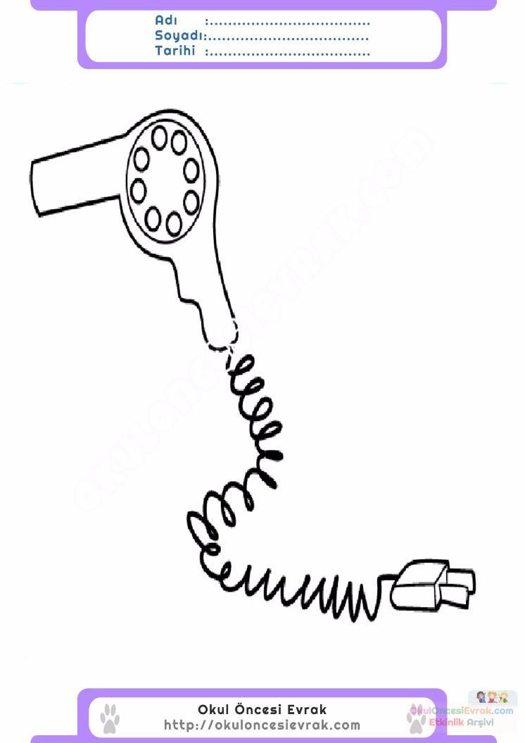 çocuklar Için Sac Kurutma Makinesi Eşyalar Boyama Sayfası 3