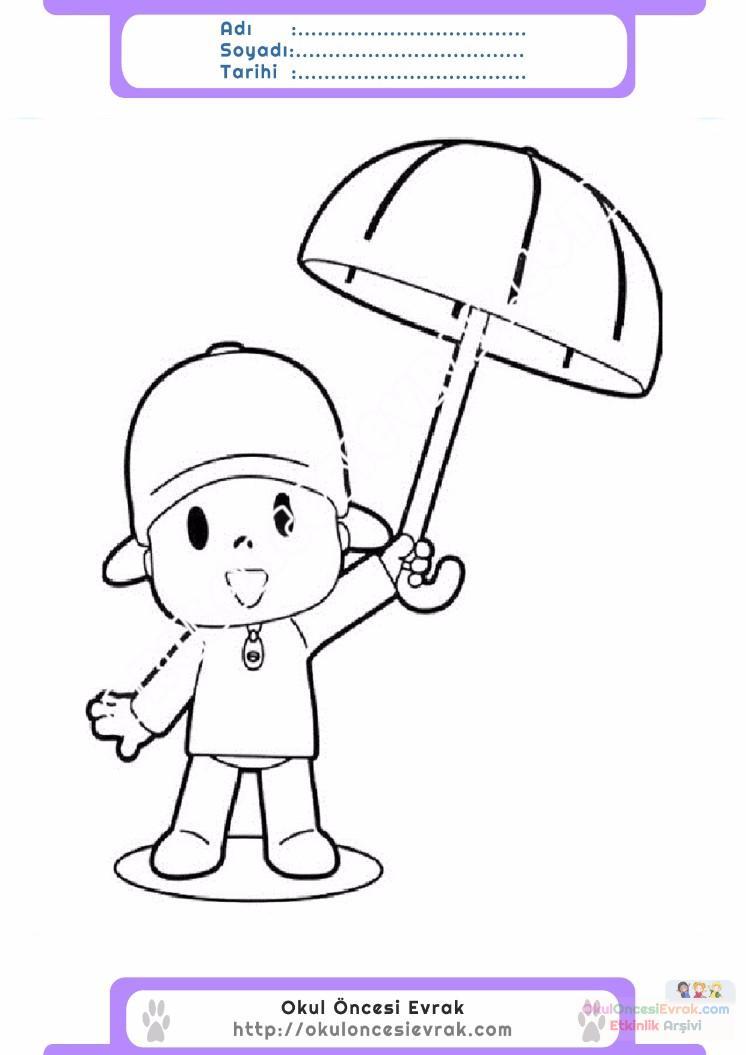 çocuklar Için şemşiye Eşyalar Boyama Sayfası 5 Preschool Activity