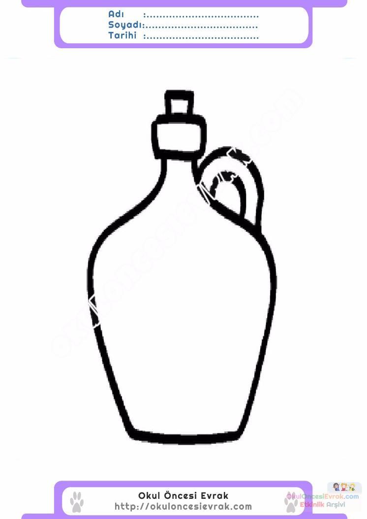 çocuklar Için şişe Eşyalar Boyama Sayfası 11 Preschool Activity