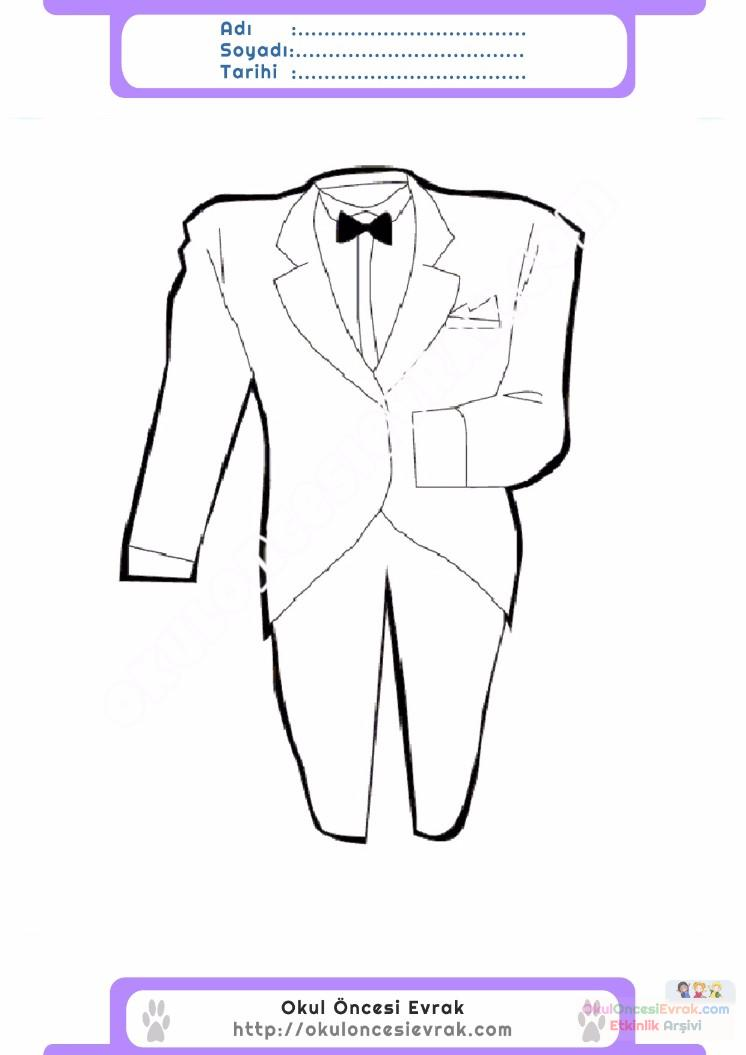 çocuklar Için Takım Elbise Ceket Kıyafet Giysi Boyama Sayfası 1