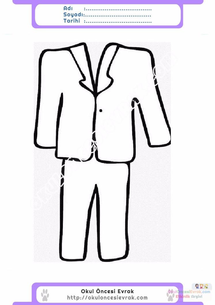 çocuklar Için Takım Elbise Ceket Kıyafet Giysi Boyama Sayfası 10