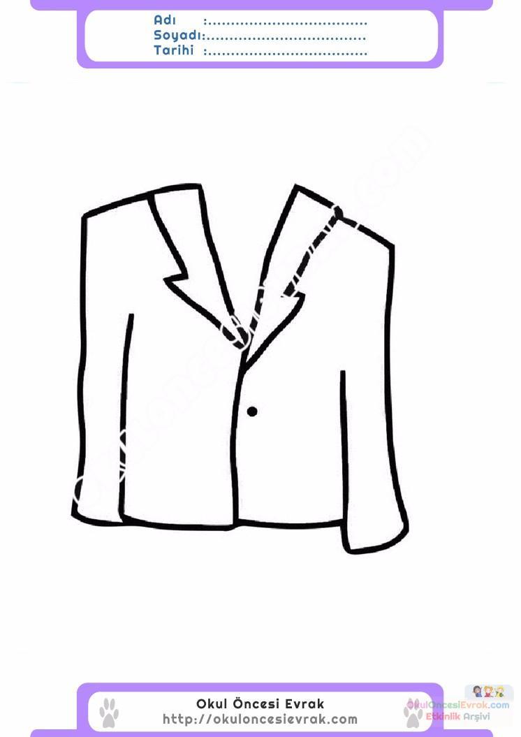 çocuklar Için Takım Elbise Ceket Kıyafet Giysi Boyama Sayfası 3