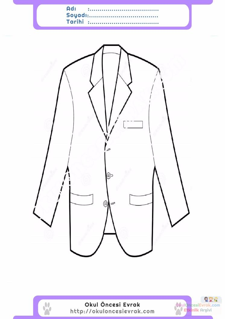 çocuklar Için Takım Elbise Ceket Kıyafet Giysi Boyama Sayfası 4