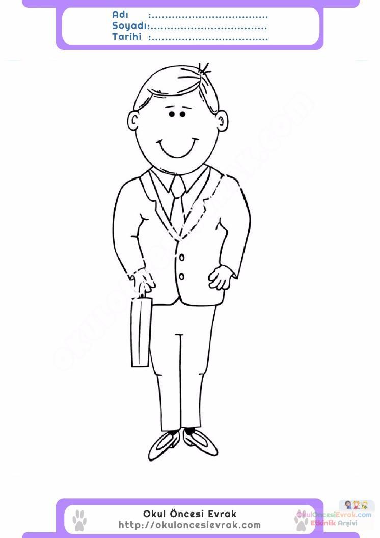 Cocuklar Icin Takim Elbise Ceket Kiyafet Giysi Boyama Sayfasi 7