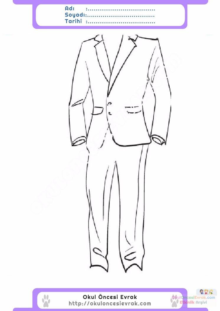çocuklar Için Takım Elbise Ceket Kıyafet Giysi Boyama Sayfası 8