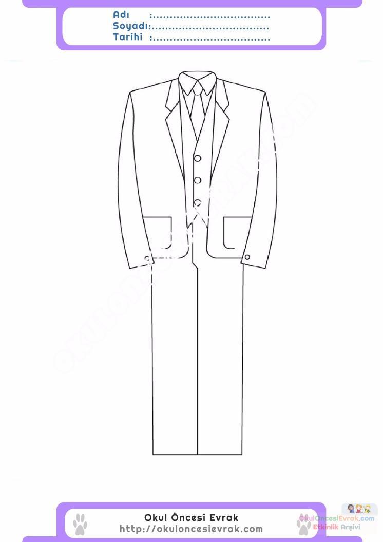 çocuklar Için Takım Elbise Ceket Kıyafet Giysi Boyama Sayfası 9