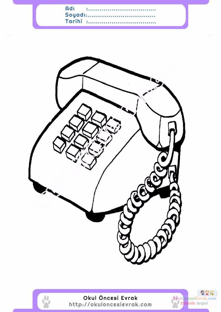 çocuklar Için Telefon Eşyalar Boyama Sayfası 1 Preschool Activity