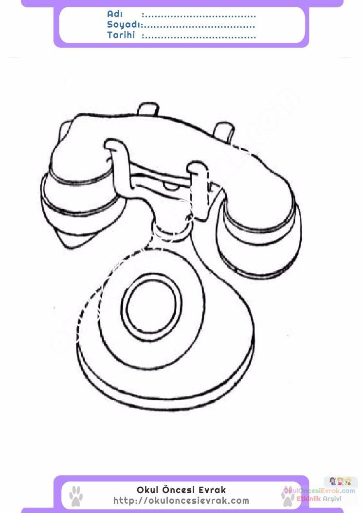 çocuklar Için Telefon Eşyalar Boyama Sayfası 10 Preschool Activity