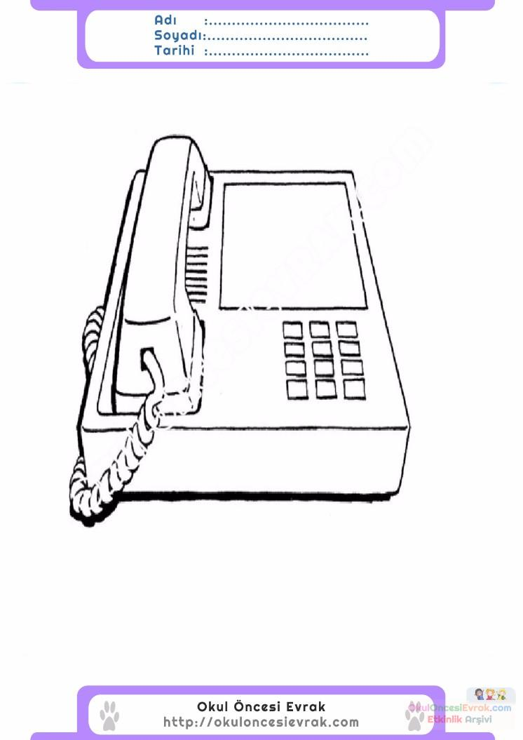 çocuklar Için Telefon Eşyalar Boyama Sayfası 11 Preschool