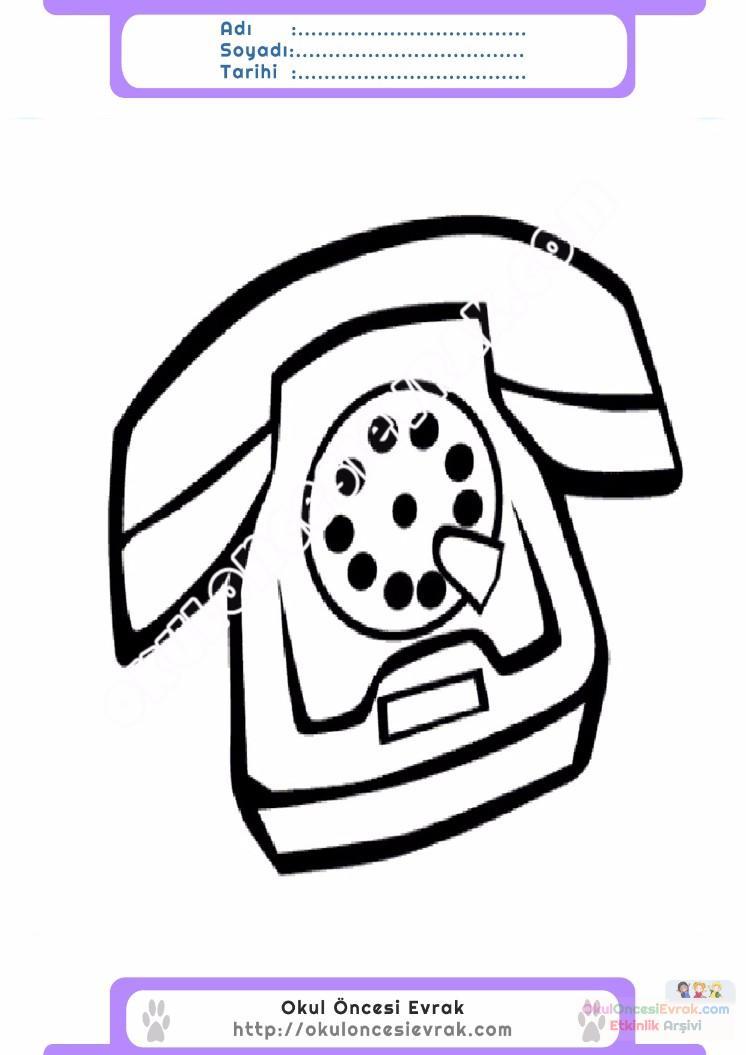 çocuklar Için Telefon Eşyalar Boyama Sayfası 16 Preschool Activity