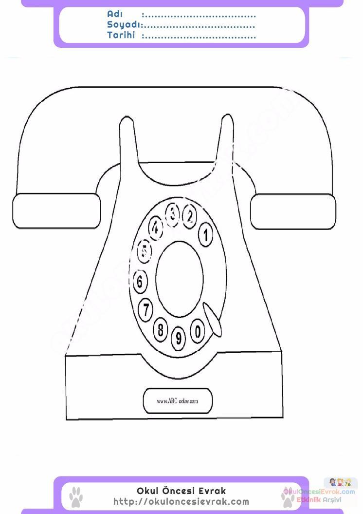 çocuklar Için Telefon Eşyalar Boyama Sayfası 2 1 Preschool Activity