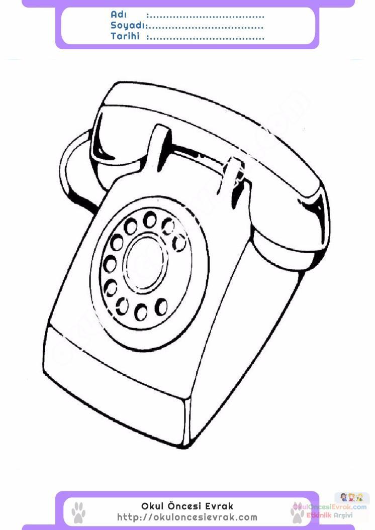 çocuklar Için Telefon Eşyalar Boyama Sayfası 3 Preschool Activity
