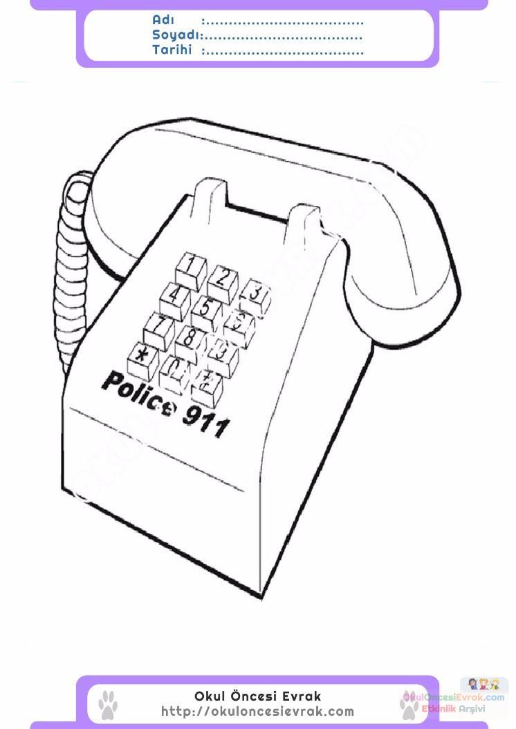 çocuklar Için Telefon Eşyalar Boyama Sayfası 5 Preschool Activity