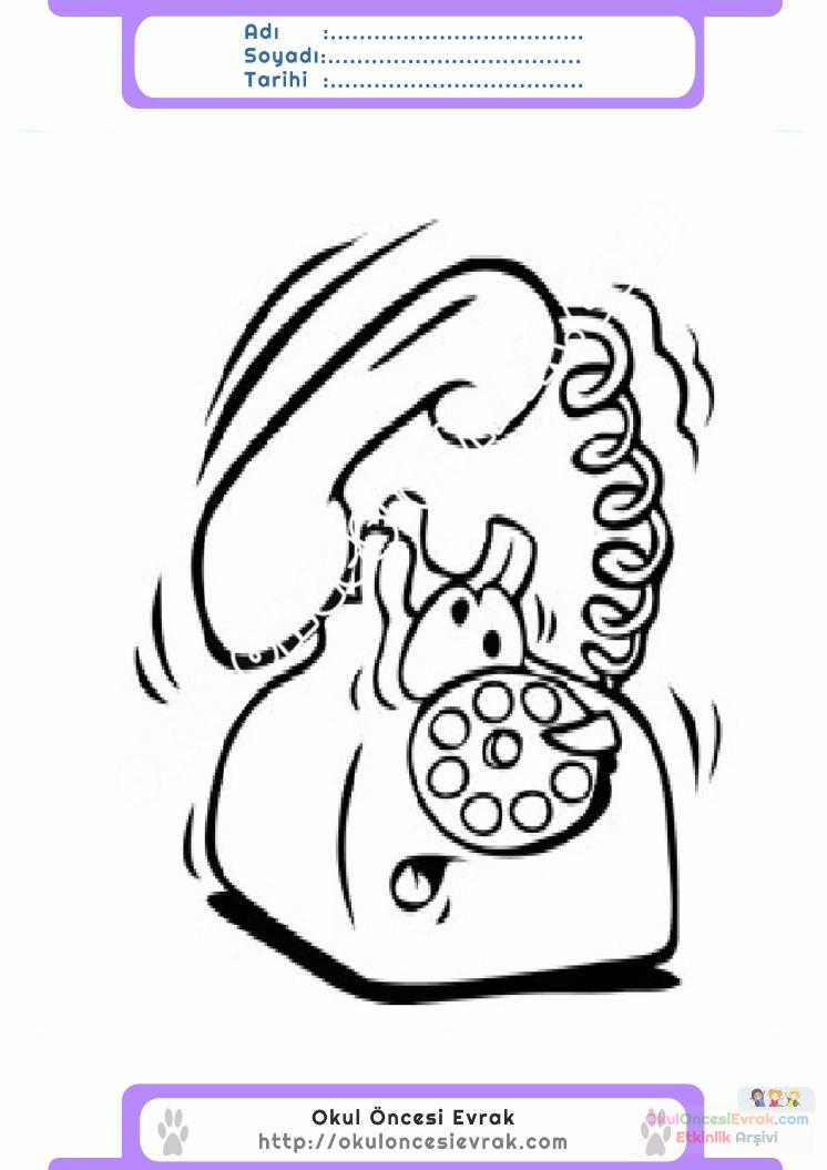 çocuklar Için Telefon Eşyalar Boyama Sayfası 6 1 Preschool Activity