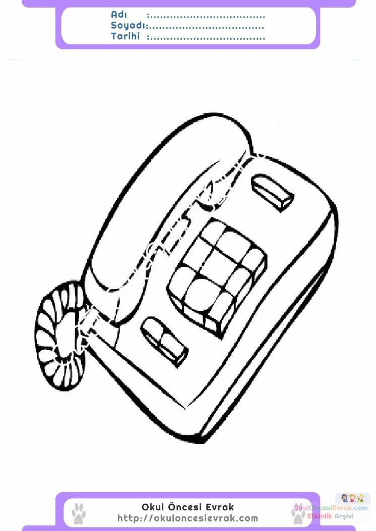 çocuklar Için Telefon Eşyalar Boyama Sayfası 7 Preschool Activity