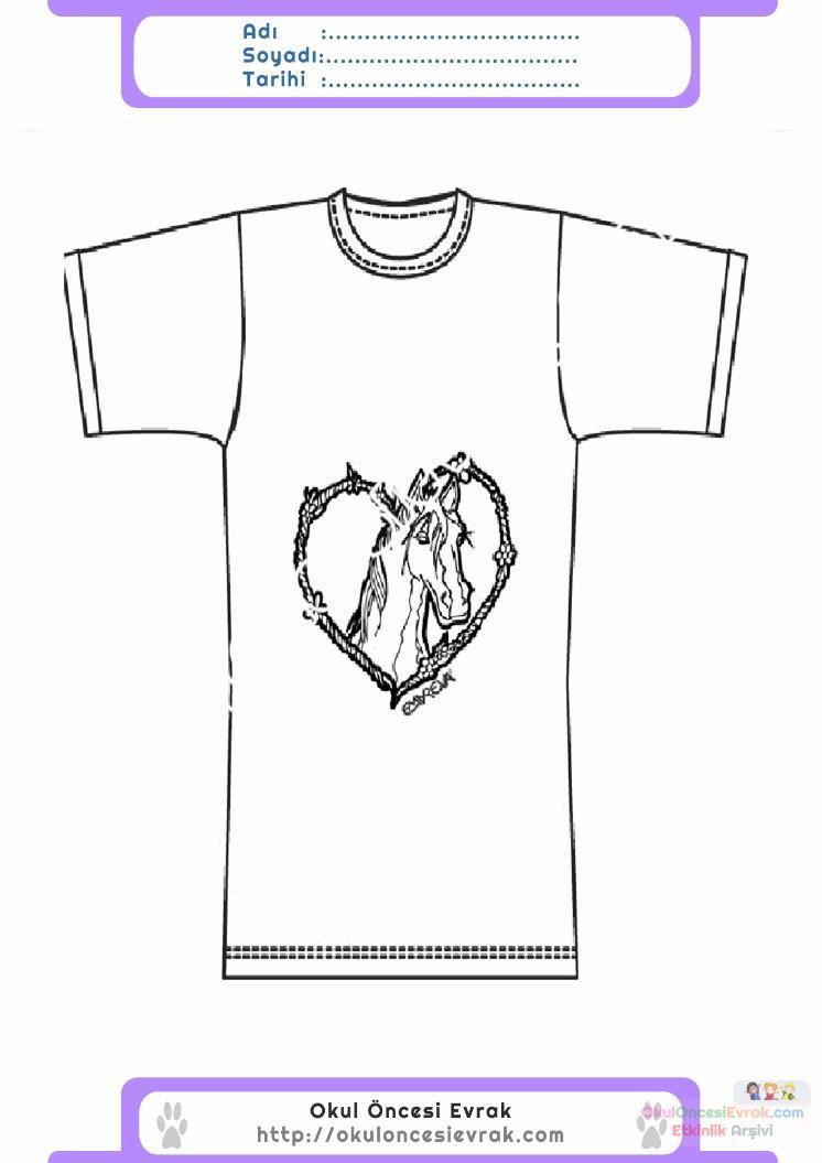çocuklar Için Tişört Kıyafet Giysi Boyama Sayfası 10 Preschool