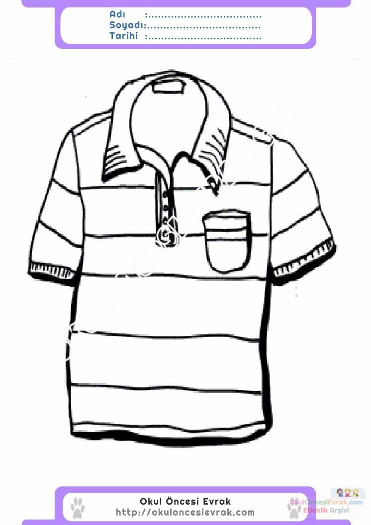 çocuklar Için Tişört Kıyafet Giysi Boyama Sayfası 13 Preschool