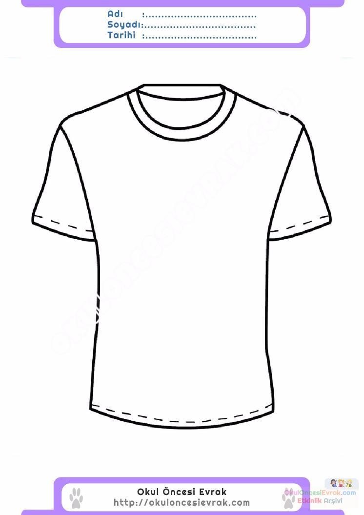 çocuklar Için Tişört Kıyafet Giysi Boyama Sayfası 14 Preschool