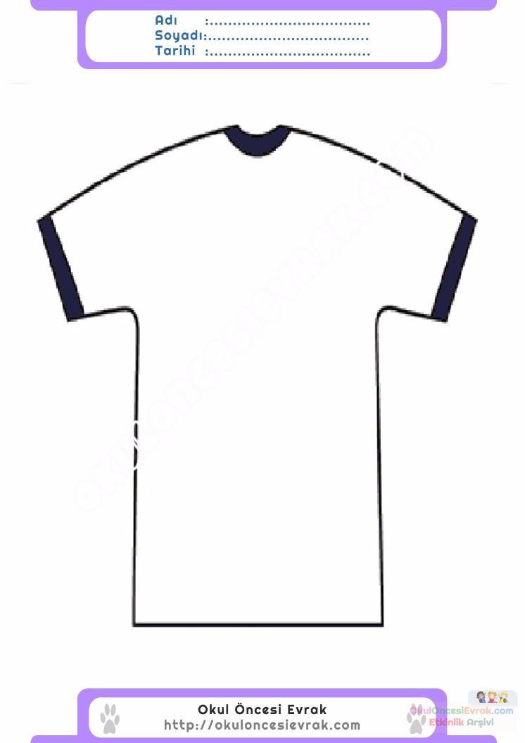 çocuklar Için Tişört Kıyafet Giysi Boyama Sayfası 15 Preschool