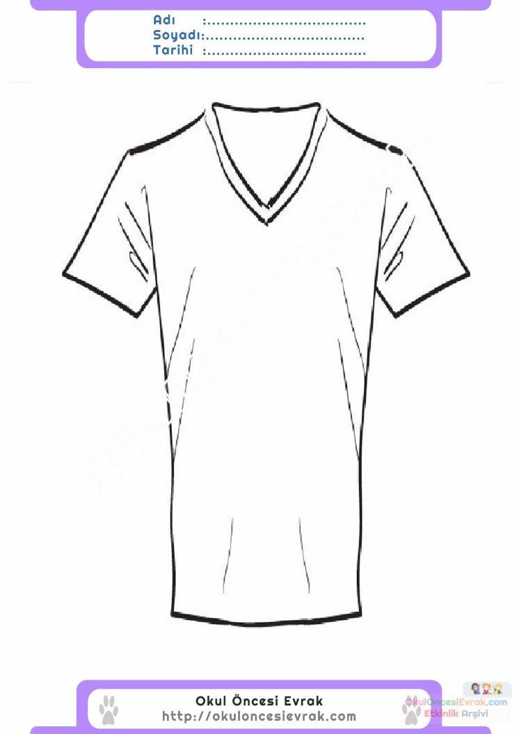 çocuklar Için Tişört Kıyafet Giysi Boyama Sayfası 16 Preschool