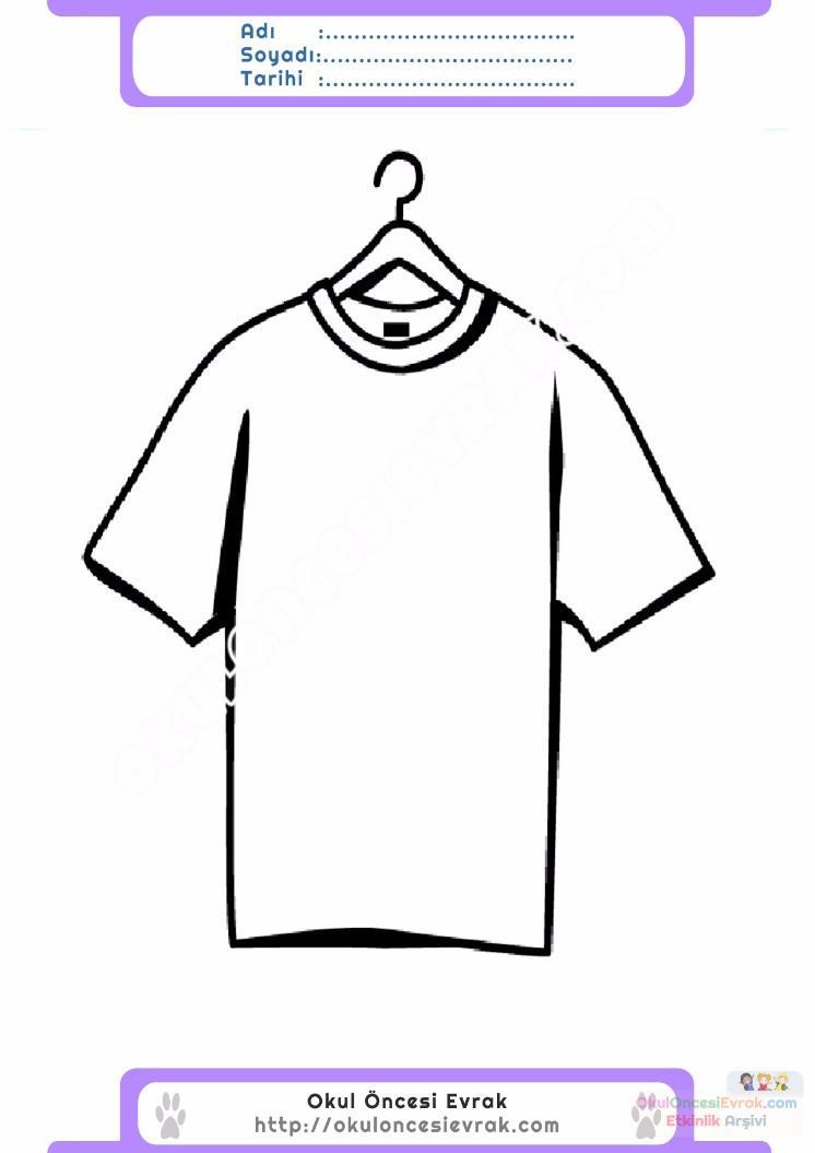 çocuklar Için Tişört Kıyafet Giysi Boyama Sayfası 4 Preschool Activity