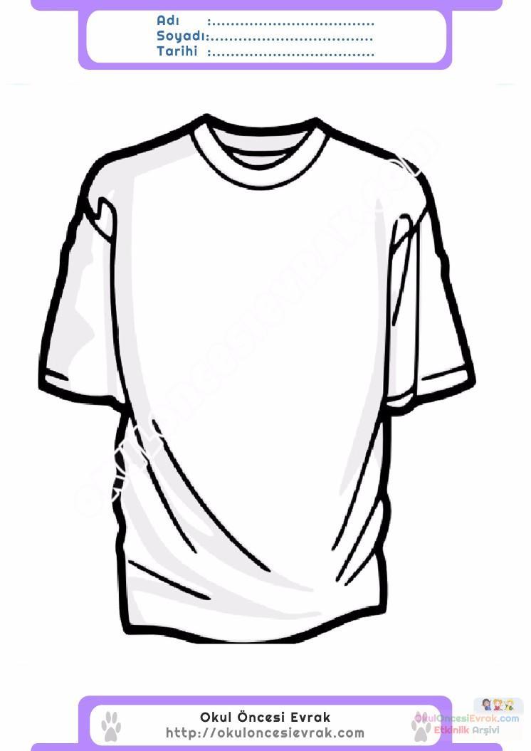 çocuklar Için Tişört Kıyafet Giysi Boyama Sayfası 5 Preschool Activity