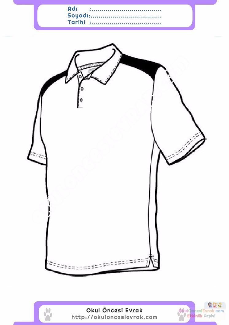 çocuklar Için Tişört Kıyafet Giysi Boyama Sayfası 6 Preschool Activity