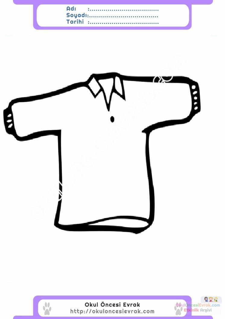 çocuklar Için Tişört Kıyafet Giysi Boyama Sayfası 7 Preschool Activity