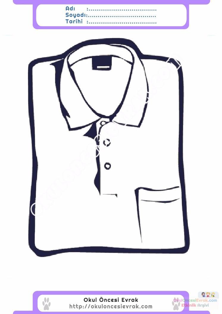 çocuklar Için Tişört Kıyafet Giysi Boyama Sayfası 8 Preschool Activity
