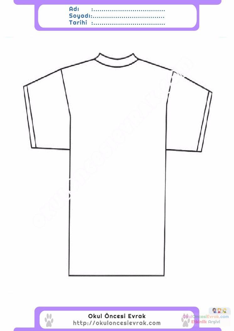 çocuklar Için Tişört Kıyafet Giysi Boyama Sayfası 9 Preschool Activity