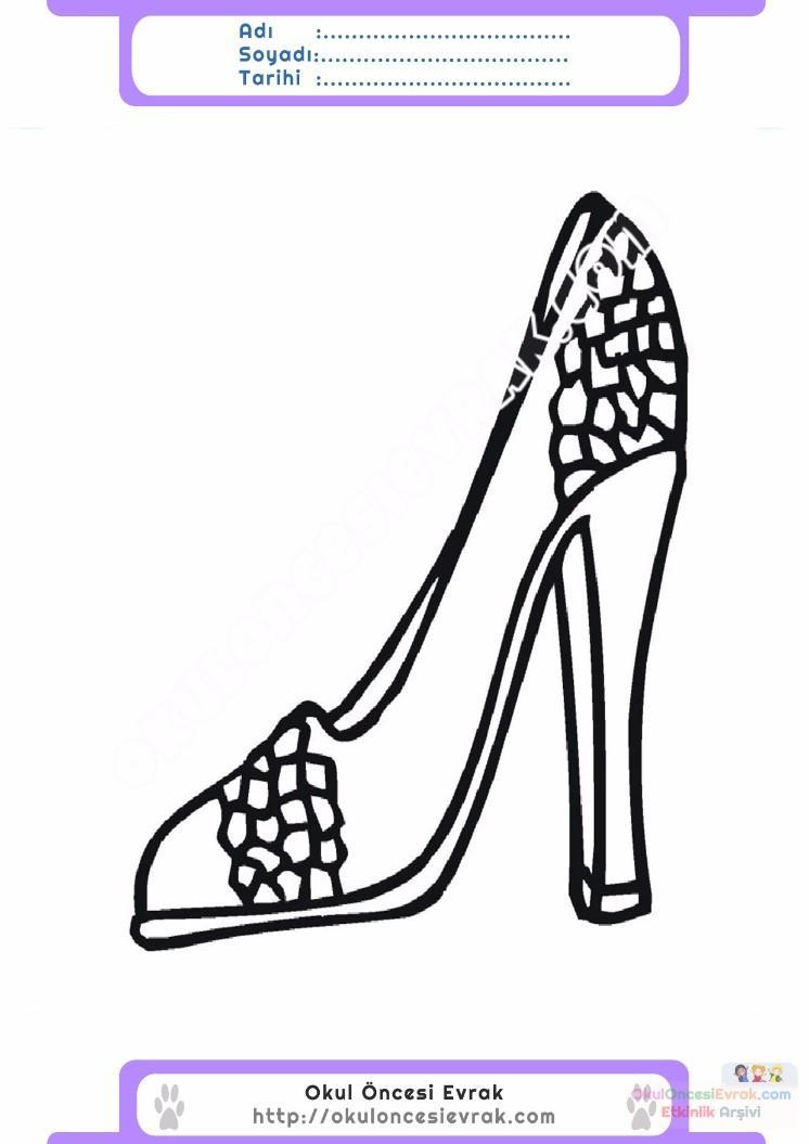 çocuklar Için Topuklu Ayakkabı Kıyafet Giysi Boyama Sayfası 1