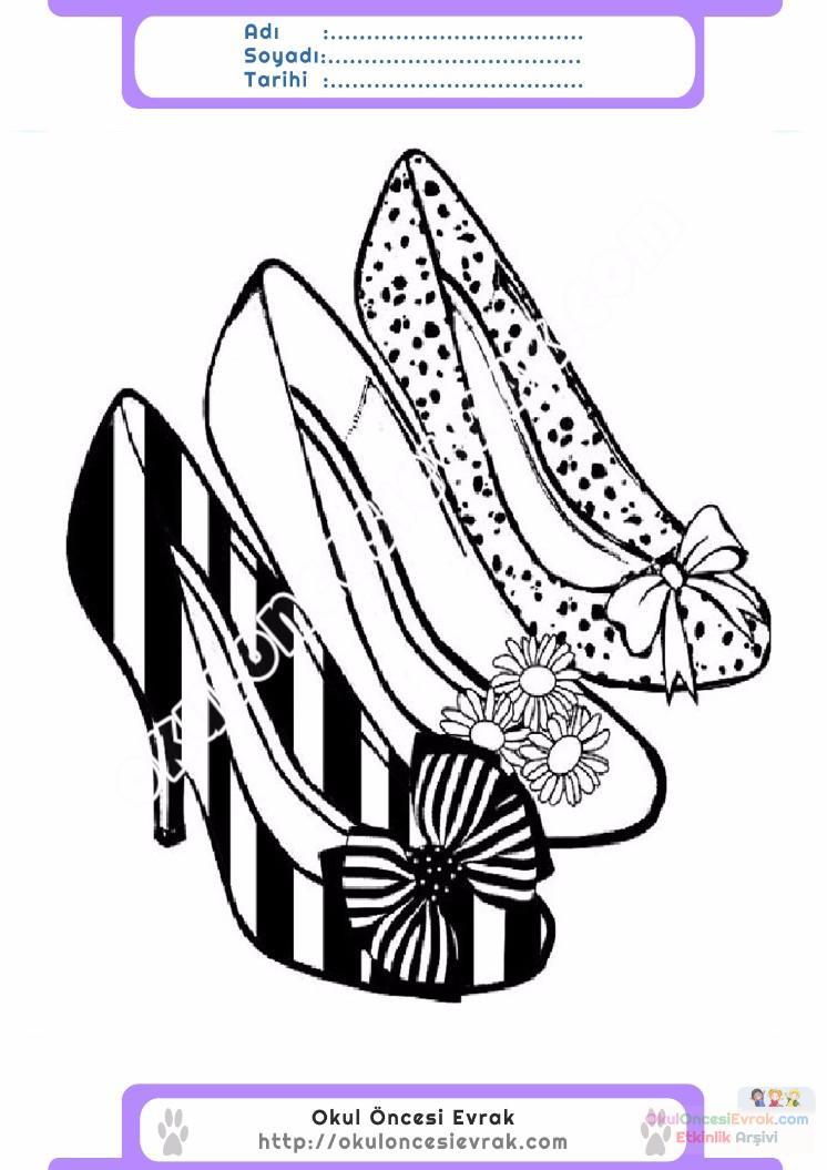 çocuklar Için Topuklu Ayakkabı Kıyafet Giysi Boyama Sayfası 3