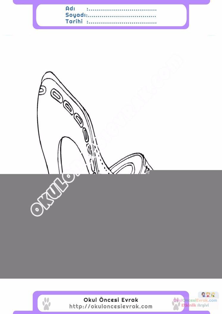 çocuklar Için Topuklu Ayakkabı Kıyafet Giysi Boyama Sayfası 8