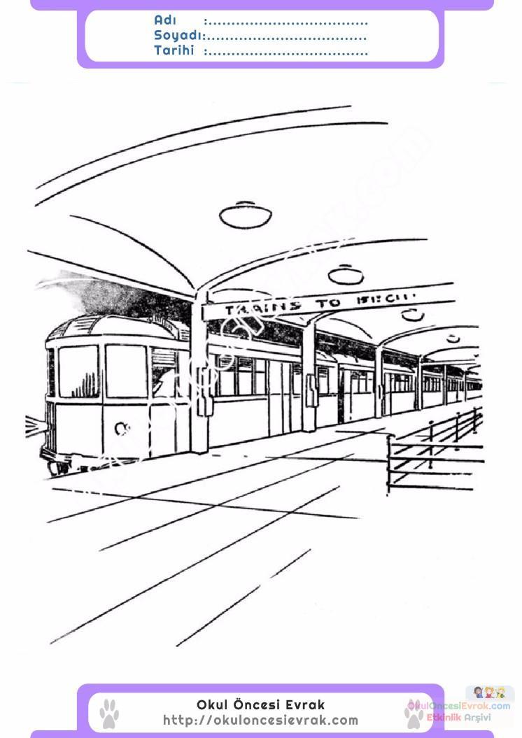 çocuklar Için Tren Istasyonu Yapılar Binalar Boyama Sayfası 2