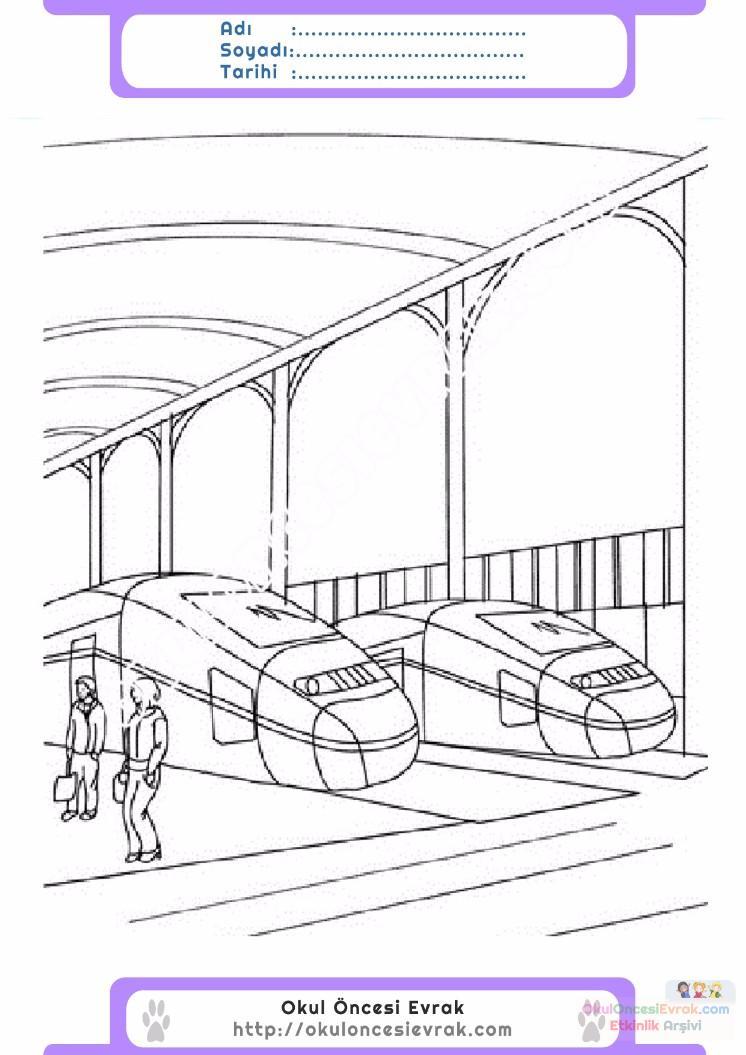 çocuklar Için Tren Istasyonu Yapılar Binalar Boyama Sayfası 5