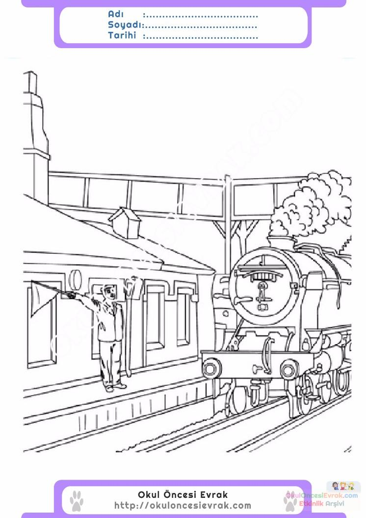 çocuklar Için Tren Istasyonu Yapılar Binalar Boyama Sayfası 6