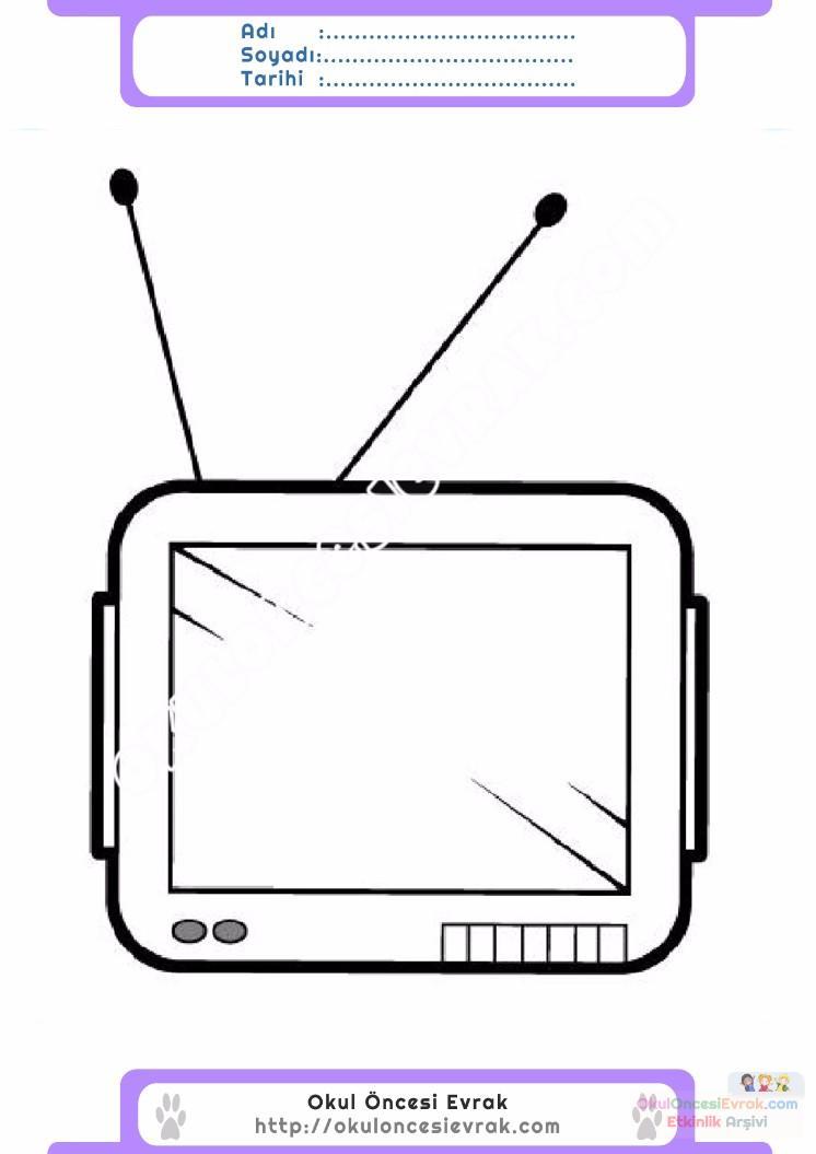 çocuklar Için Tv Eşyalar Boyama Sayfası 12 Preschool Activity