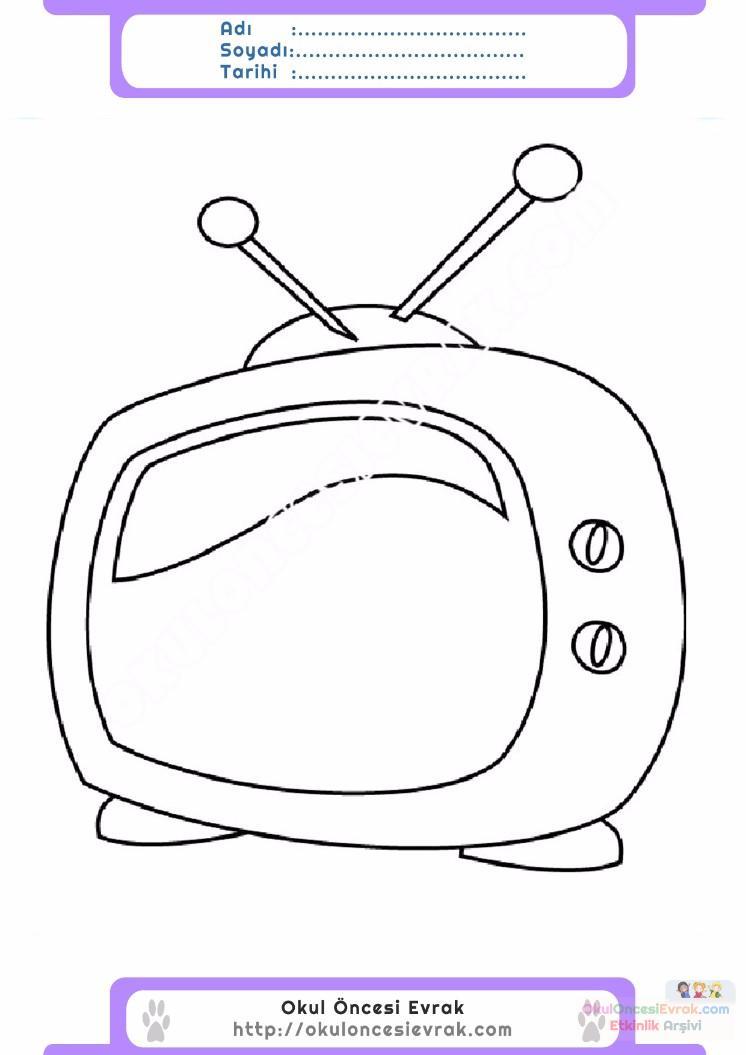 Okul Oncesi Tv Boyama Ust Ev Boyama Sayfasi