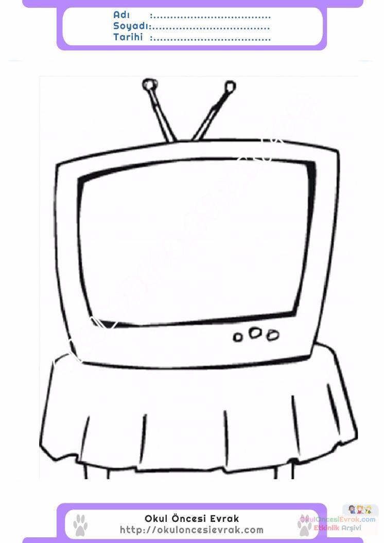 çocuklar Için Tv Eşyalar Boyama Sayfası 17 Preschool Activity