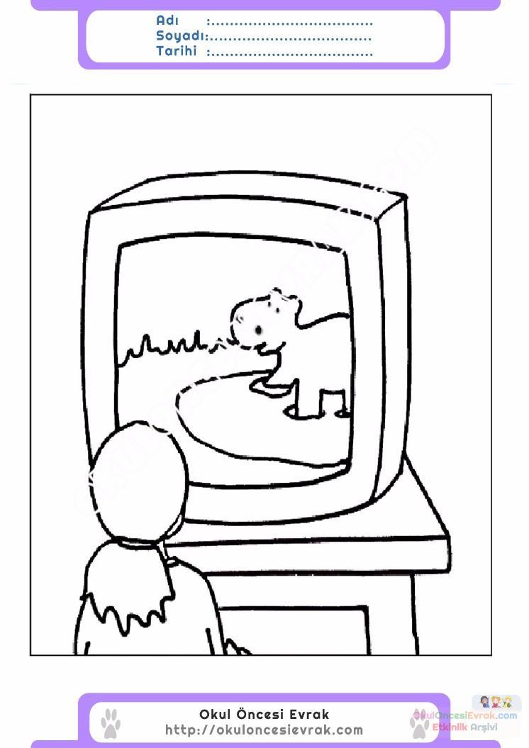 çocuklar Için Tv Eşyalar Boyama Sayfası 19 Preschool Activity