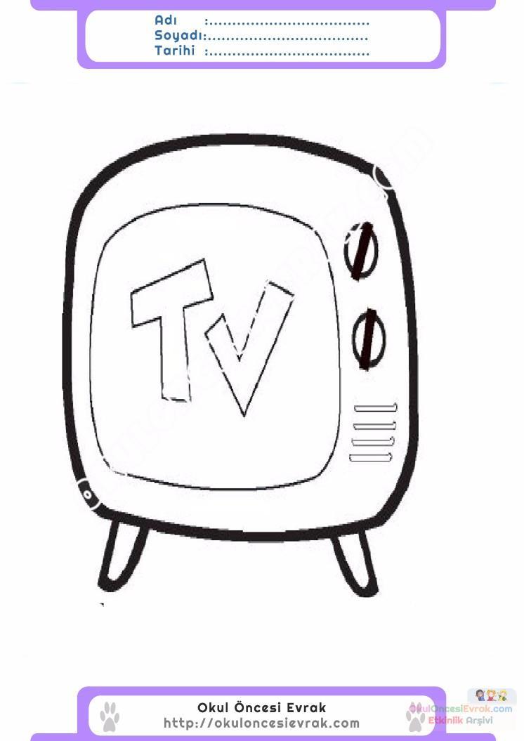 çocuklar Için Tv Eşyalar Boyama Sayfası 21 Preschool Activity