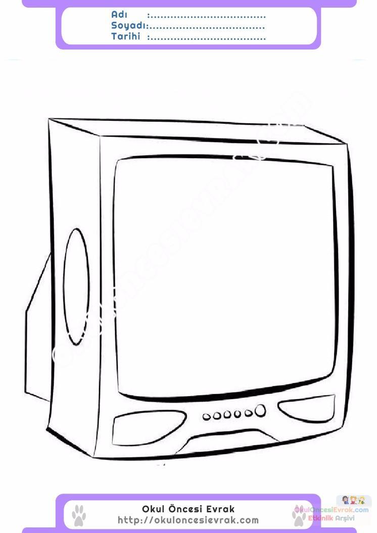 çocuklar Için Tv Eşyalar Boyama Sayfası 22 Preschool Activity