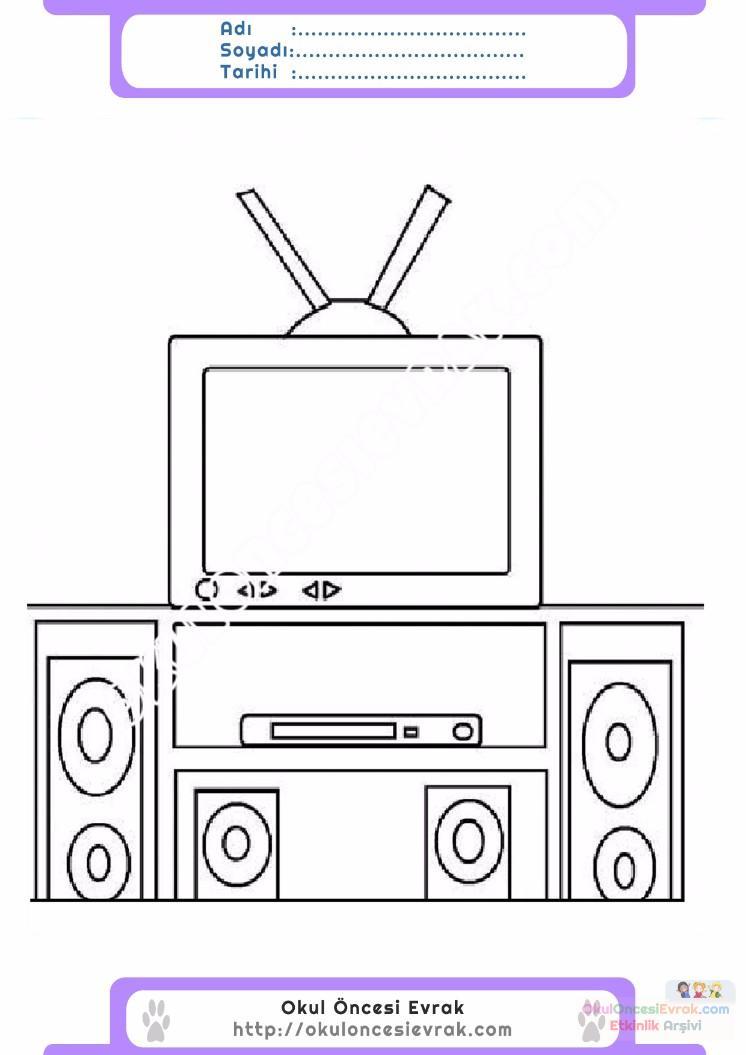 çocuklar Için Tv Eşyalar Boyama Sayfası 23 Preschool Activity