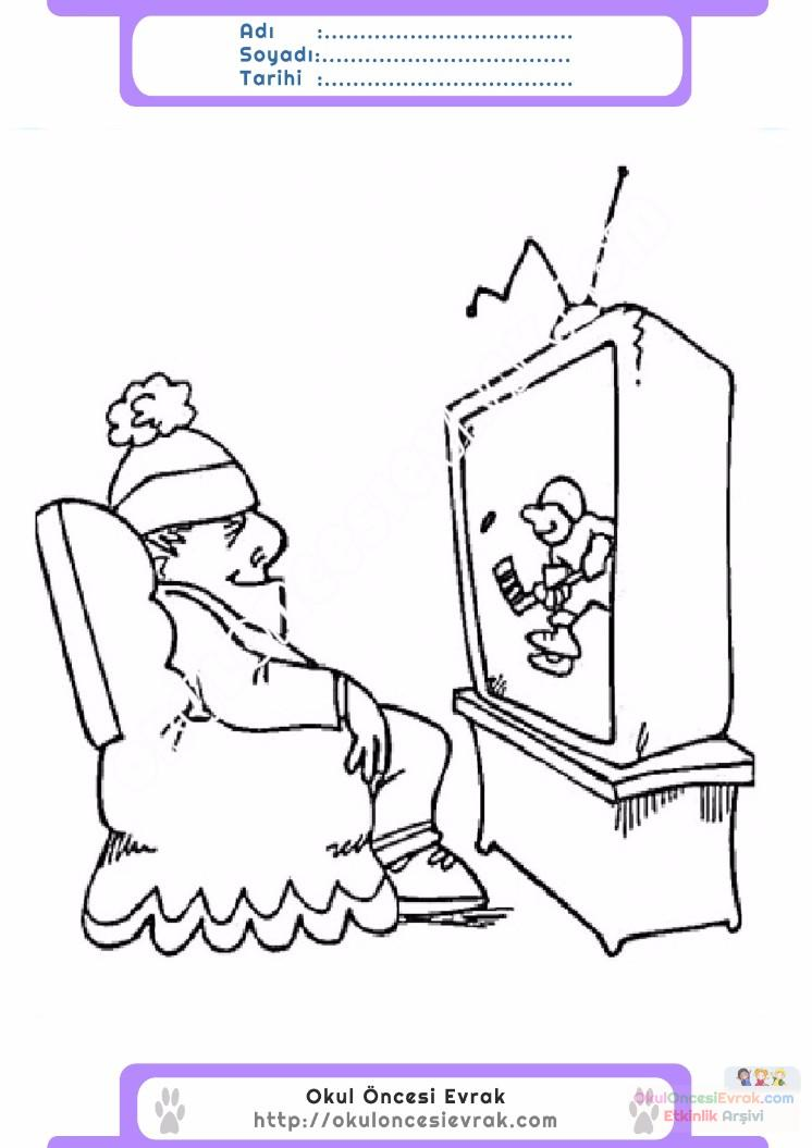 çocuklar Için Tv Eşyalar Boyama Sayfası 24 Preschool Activity