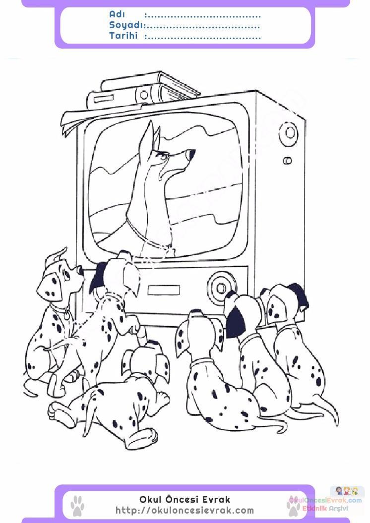 çocuklar Için Tv Eşyalar Boyama Sayfası 3 Preschool Activity