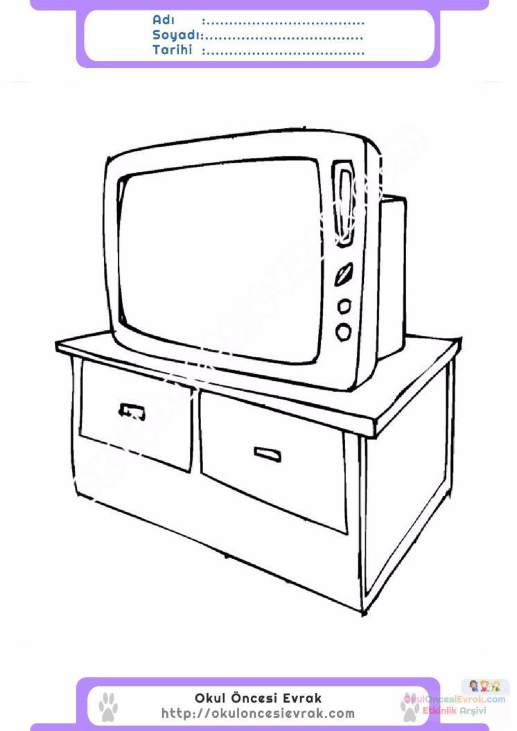 çocuklar Için Tv Eşyalar Boyama Sayfası 5 Preschool Activity